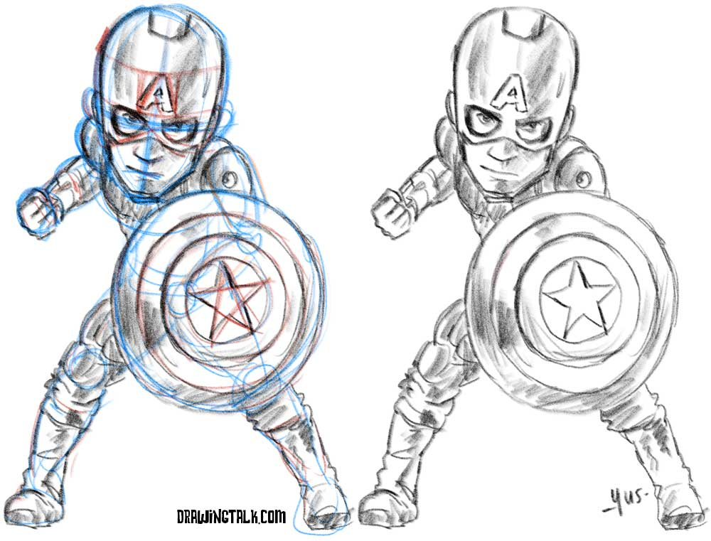 How to draw Captain America caricature 2