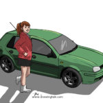 Daily Drawing – a Girl and her Car