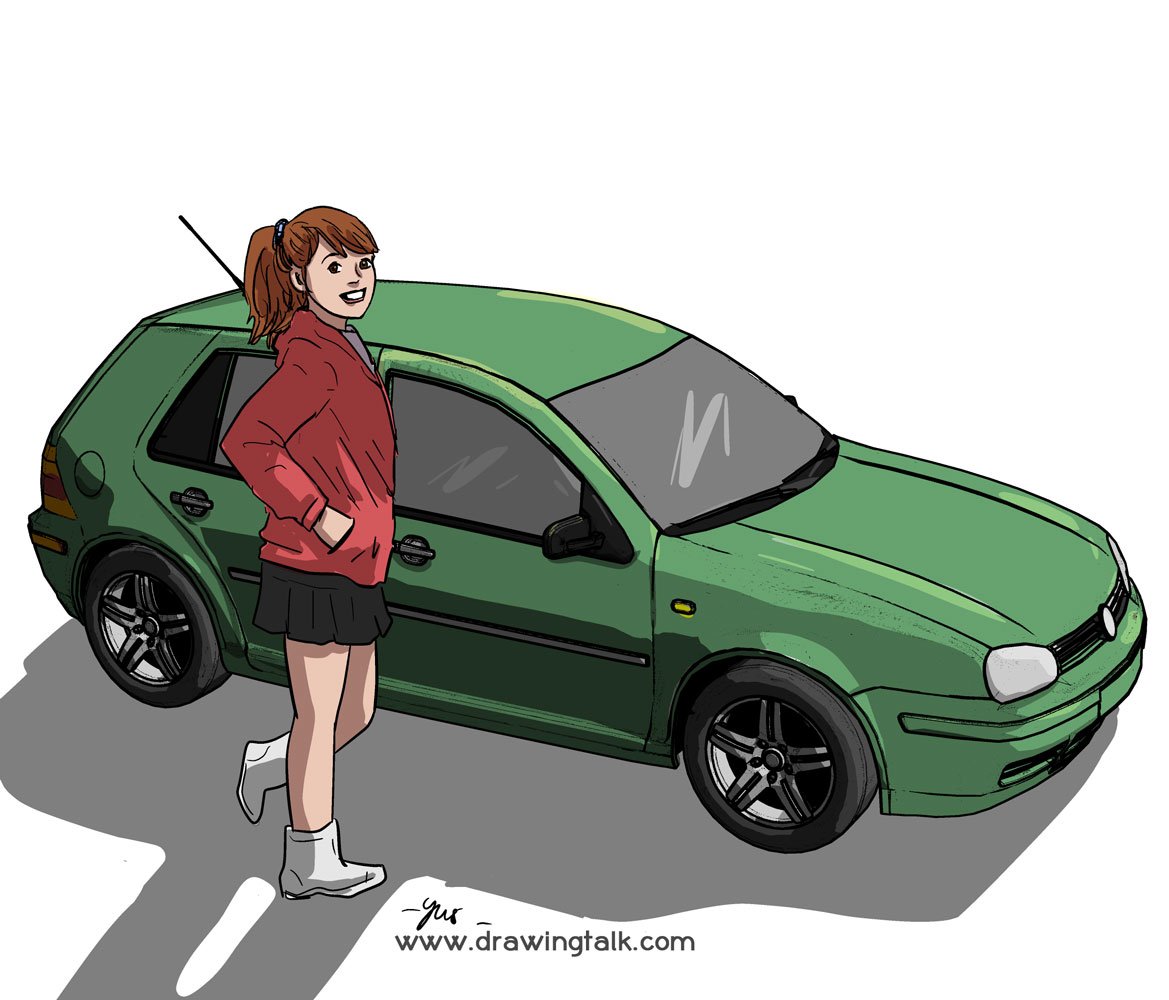 A girl and a car illustration