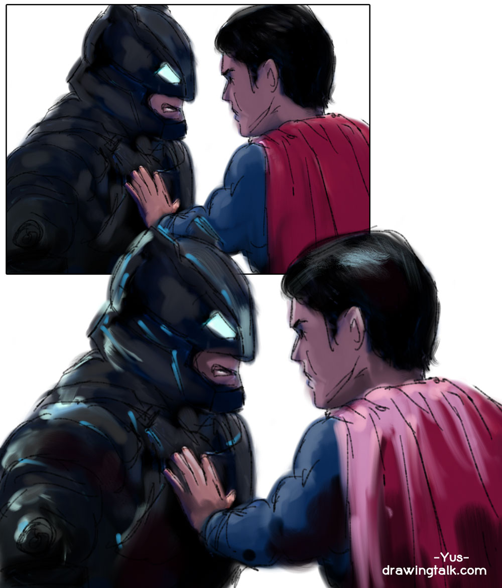 Easy Step by Step Drawings of Batman v Superman - Coloring
